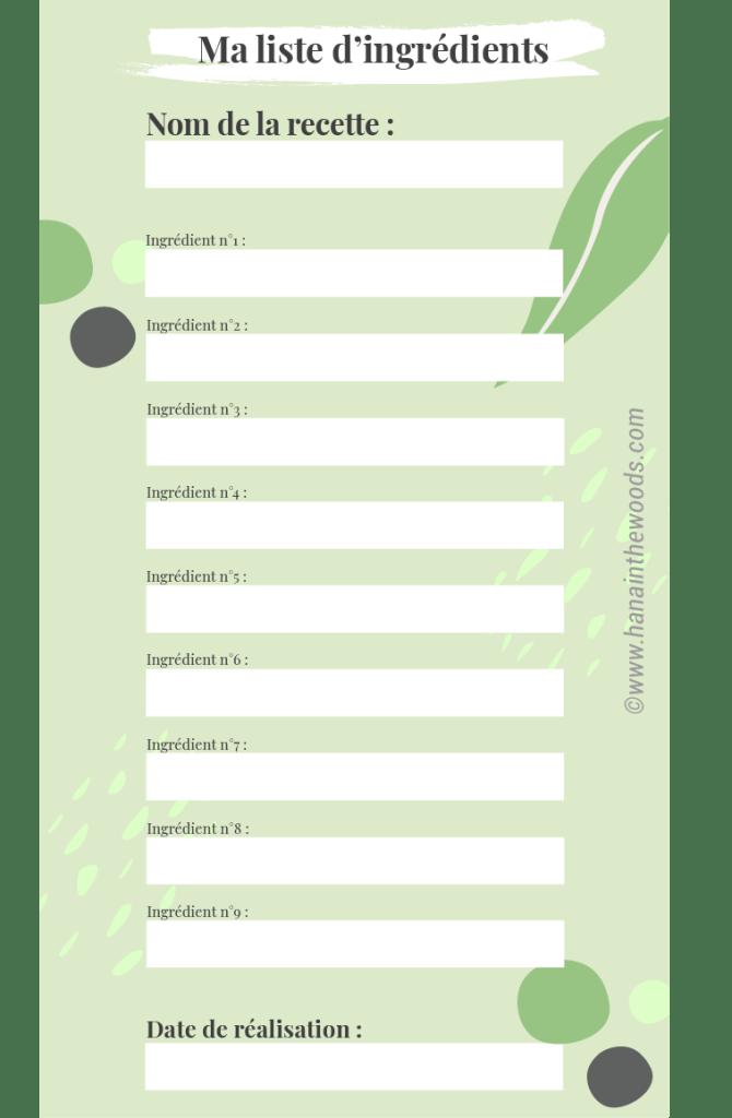 Liste ingrédients