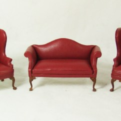 White Leather Wingback Chair Ergonomic Thailand And Sofa Hanamini Com Dollhouse Miniatures Ca059 Red Set A Chairs
