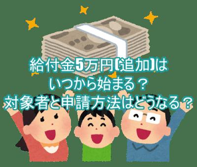 給付金5万円(追加)はいつから始まる?対象者と申請方法はどうなる?7