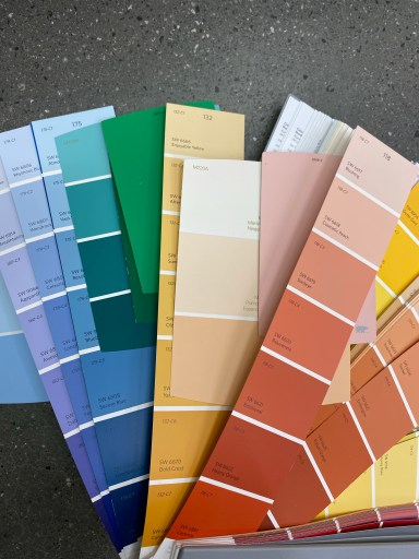 Picking paint colours for a wall mural. These muted colours were too drab
