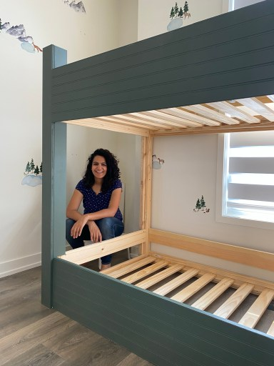 green painted bunk bed