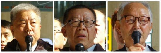 ▲左からキム・ドンマン韓国労総委員長、チェ・ジョンジン民主労総首席副委員長、イ・ギュジェ汎民連南側本部議長