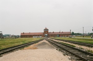 This is the Gate of Death at Auschwitz in Poland, site of unspeakable horro
