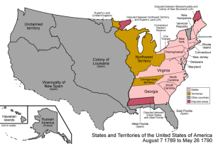 Here's what America looked like around 1800.  Ohio's unmistakeable mark, the southern border, marked by the Ohio River
