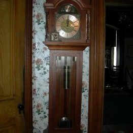 grandfather clock, dining rm.