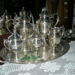 silver tea set, dining rm
