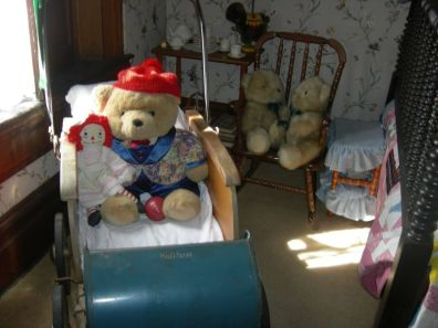 teddy bears, stroller, nursery