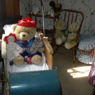 teddy bears, stroller, nursery