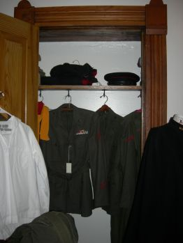 uniforms in closet, John's rm
