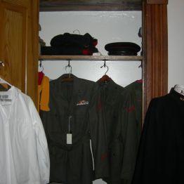 uniforms in closet, John's rm