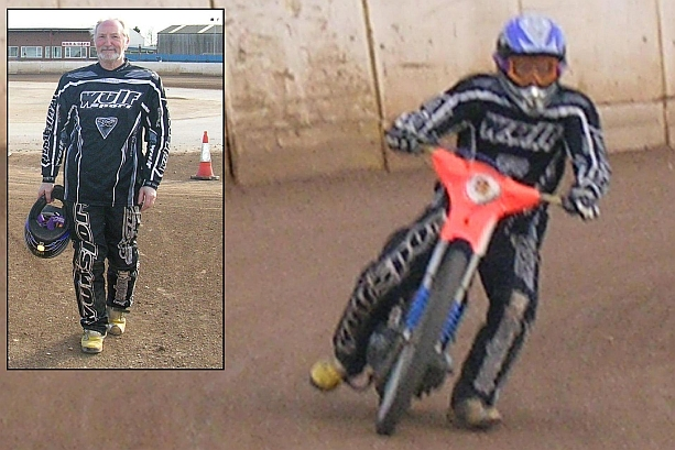 John as a speedway rider for the day at King's Lynn speedway school!