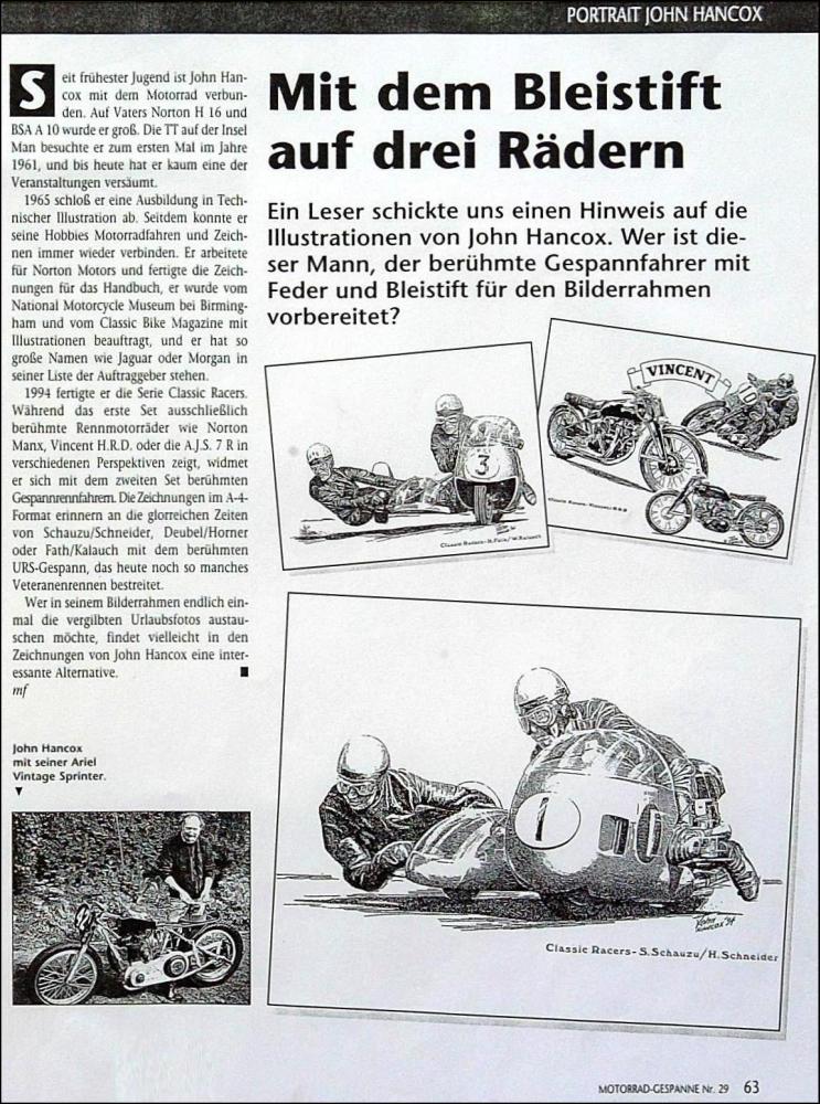 Article written about John by German magazine 'Motorrad Gespanne'