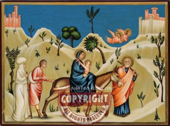 Holy Family-Flight into Egypt-21x28-hand-painted-icon