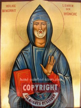 St Benedict- hand-painted icon