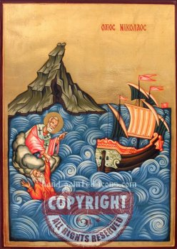 St Nicholas saves the sailors-hand-painted-icon-v2