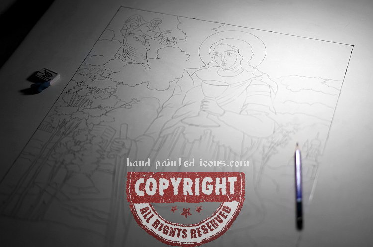 5. Hand-painted icon- Copying the contours of the icon