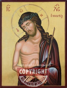 Christ -Man of sorrows-Crowned with Thorns-hand-painted-icon