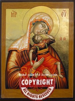 The Virgin and Playing Jesus-hand-painted-icon