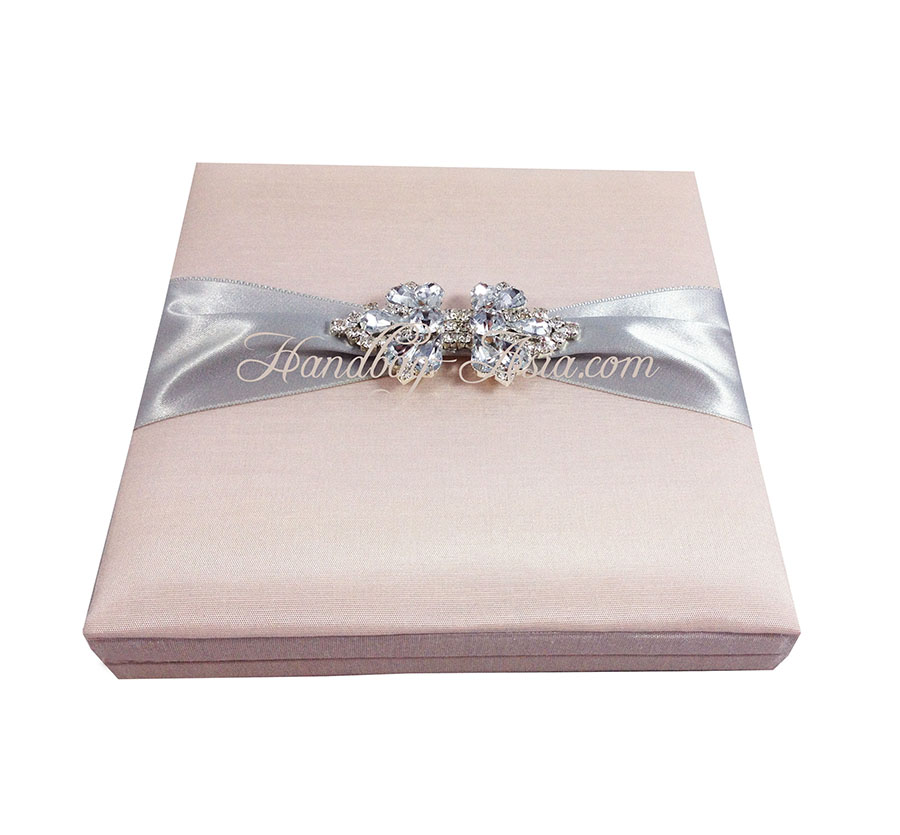 Boxed Wedding Invitation With Brooch  Hinged Lid
