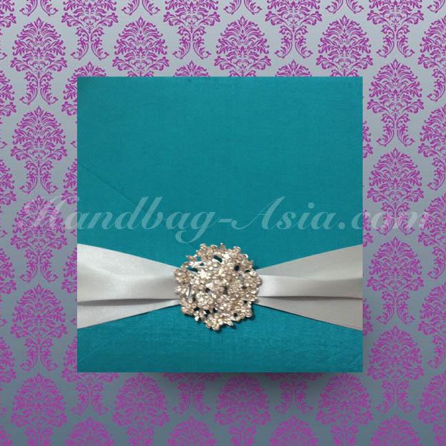Aqua Blue Silk Invitation Holder With Round Flower Brooch