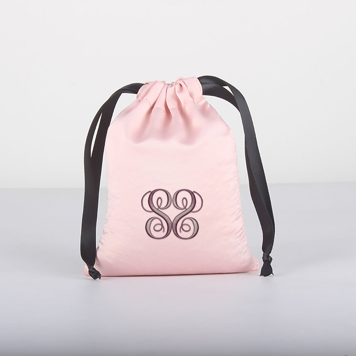 embroidered satin drawstring bags