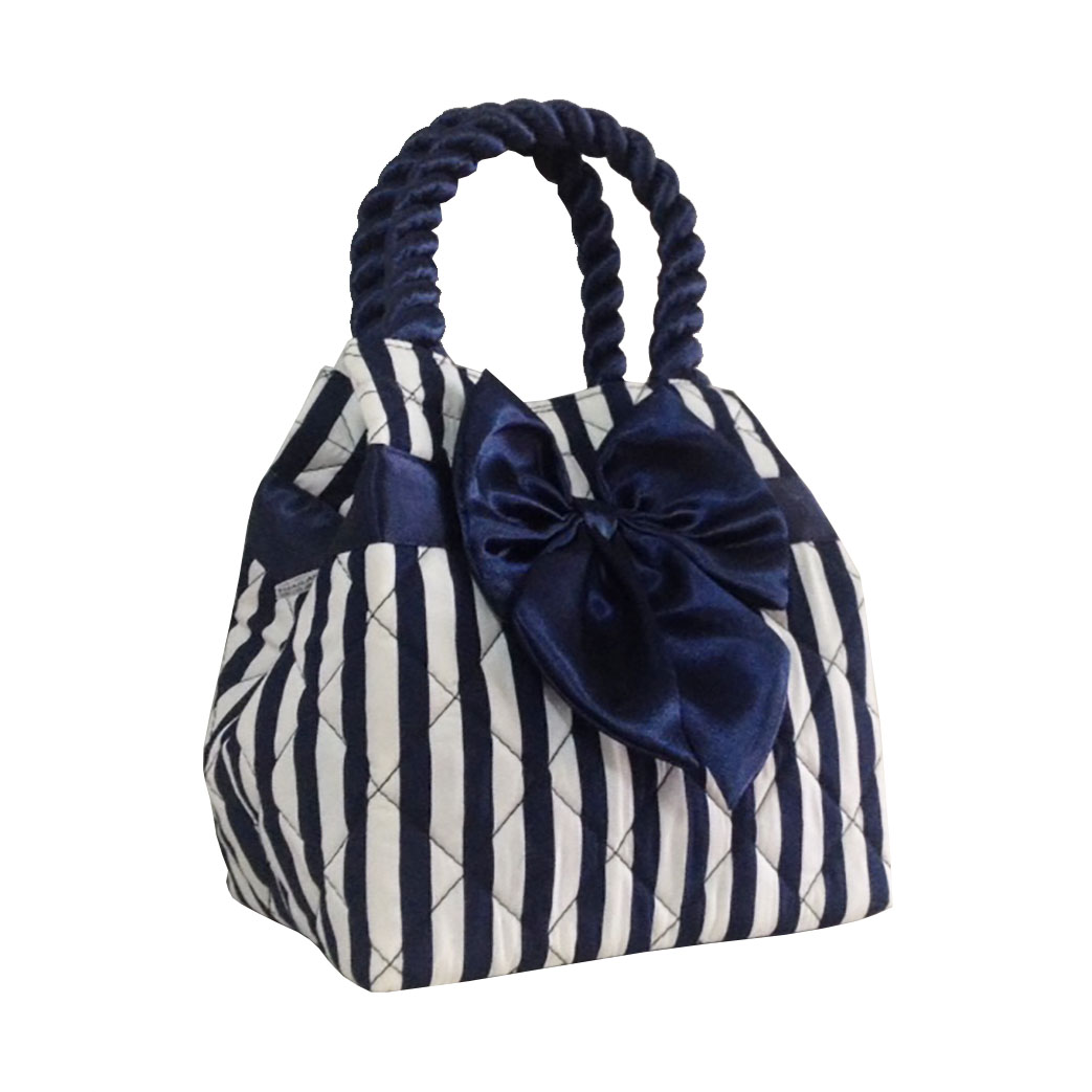 Navy Blue  White Quilted Cotton Ladies Handbag  Handbag