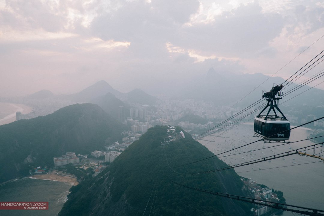 The cable car up to Pão de Açúcar, with Praia Vermelha in the foreground.