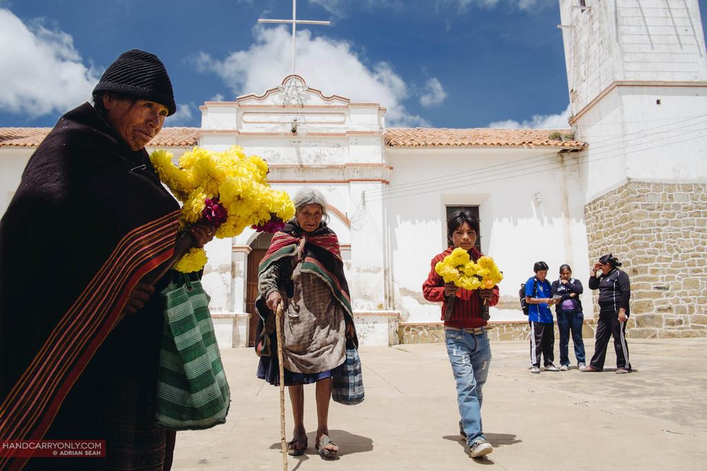 ladies leaving church on sunday, tarabuco, bolivia