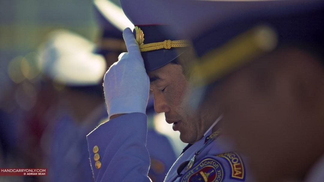 Mongolia parade soldier silent prayer