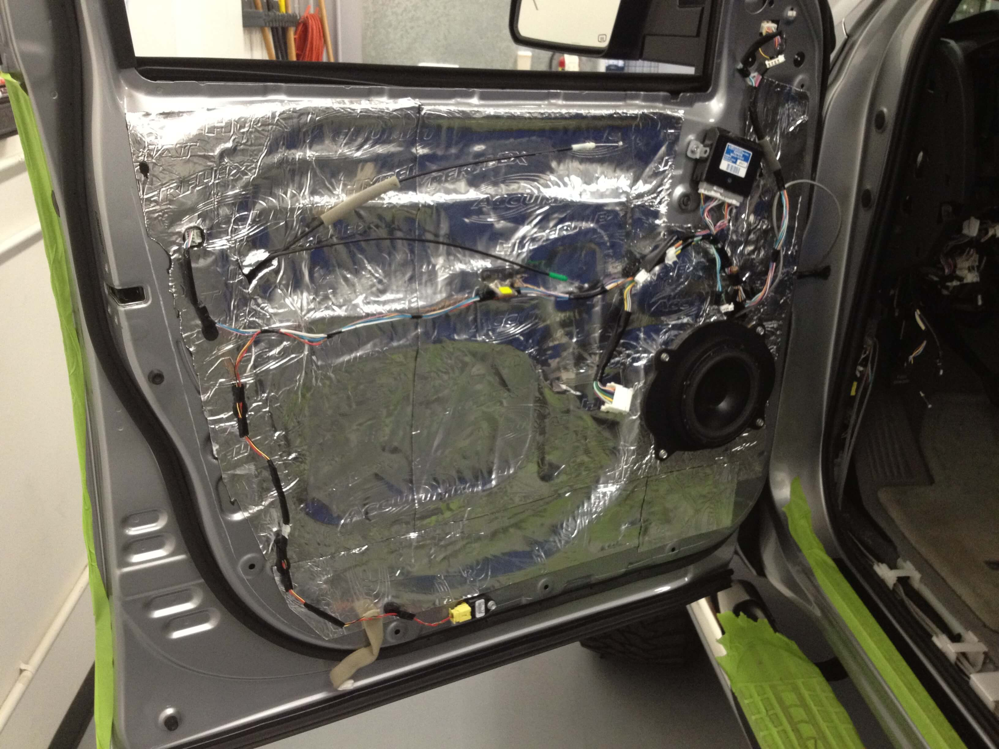 2008 Toyota Tundra Gets A Full System Plus Some Extra Goodies Silverado Rear View Mirror Wiring Diagram We Applied Sound Deadener Material To The Doors Floors Roof And Back Wall