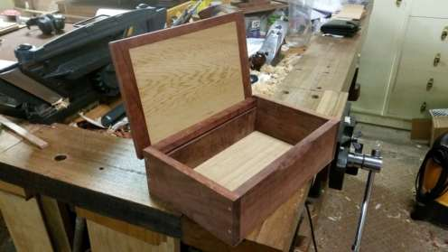 Reclaimed Redgum box on the workbench