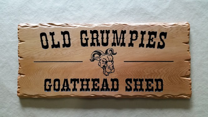 Shed sign - rustic timber reads Old Grumpies Goathead Shed with goat head picture engraved