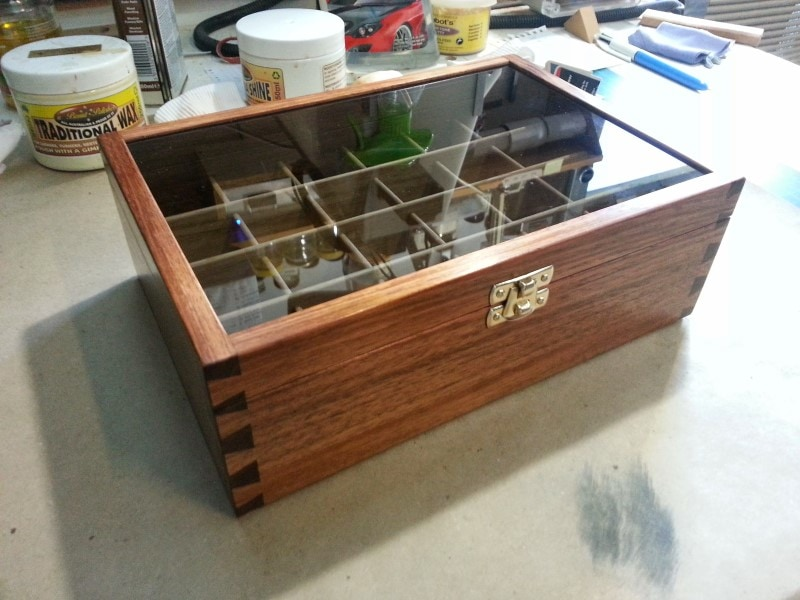 corner view image of my wooden display boxes tasmanian blackwood glass lid custom made