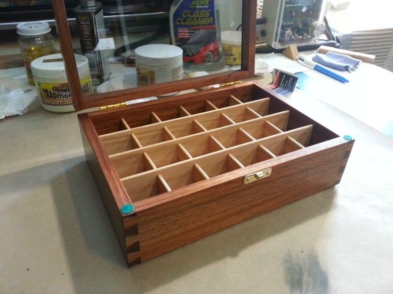 open lid image of a wooden display boxes tasmanian blackwood glass lid custom made