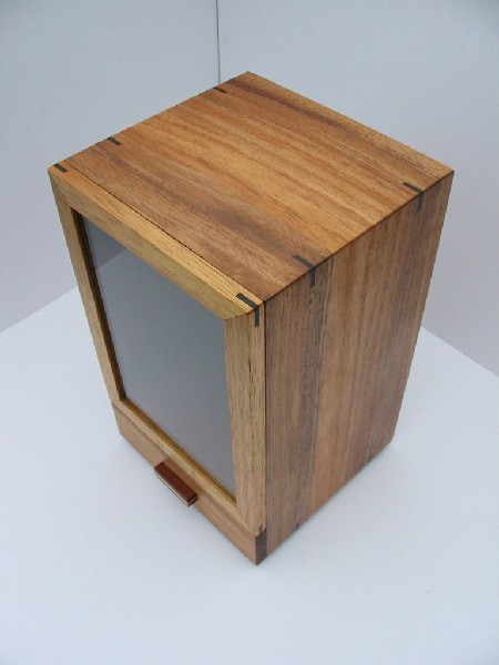 Top view of the Tasmanian Blackwood Bespoke urn cabinet for baby-children's ashes.