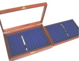 Photo of a pen display case with lift out tray glass lid open. Felt lined to protect your most precious pens and display them on your desk