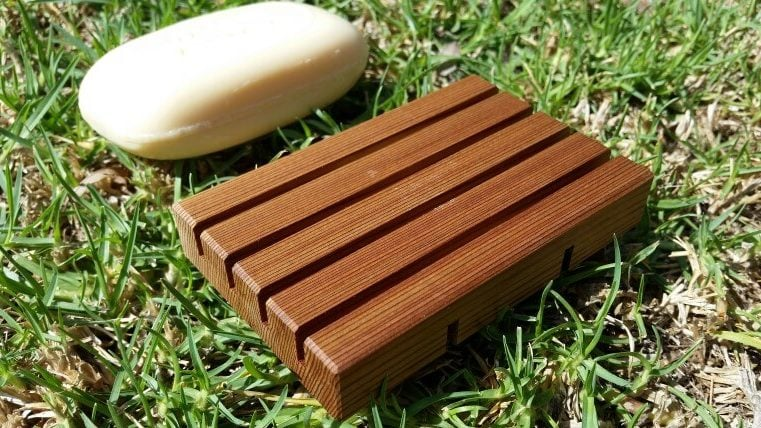 Photo of a wooden soap holder rack made from Cedar