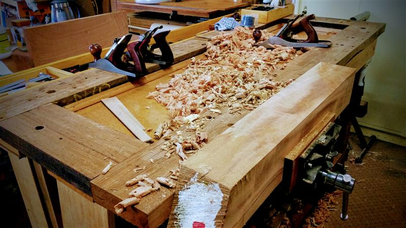 Planing Queensland Maple in the vise
