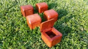 small wooden boxes with lid open
