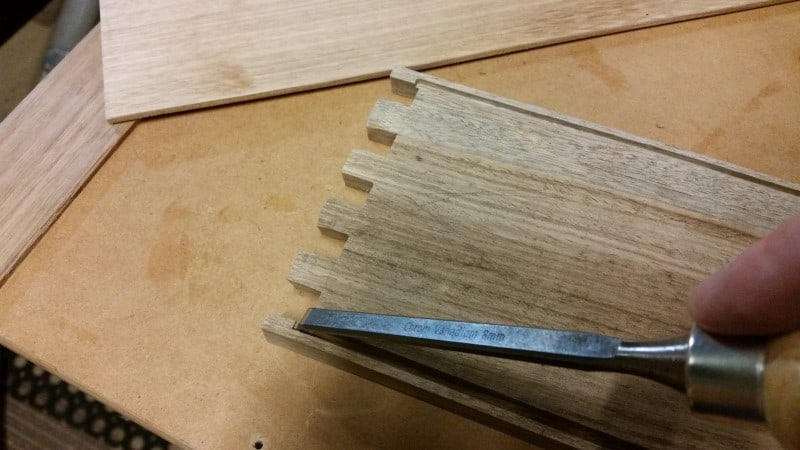Squaring up the end of the slot with a chisel