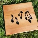 engraved wooden plaque cedar music notes