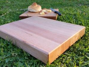 large chopping board made from victorian ash on grass