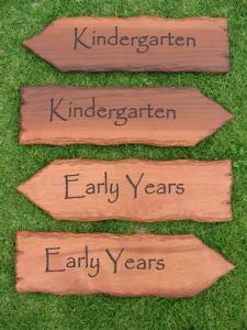 directional arrow signage wooden kindergarten signs
