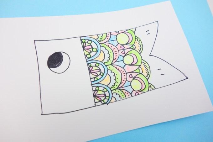 マンダラ塗り絵風こいのぼりの簡単な作り方 季節の工作アイデア集
