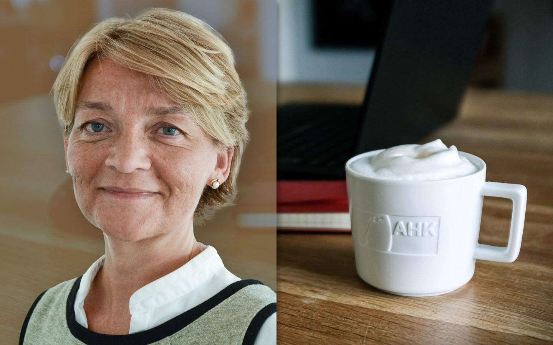 Rønnaug Sægrov Mysterud fra Hydro med en kaffekopp. Foto