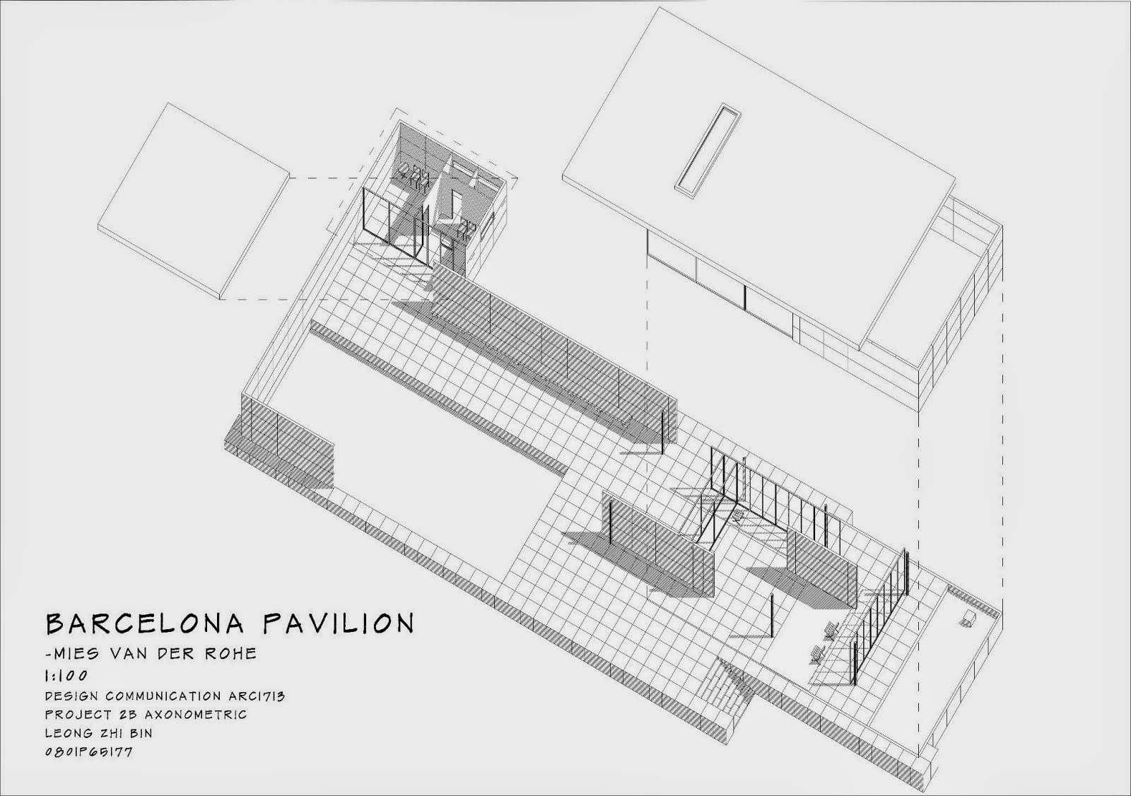 Barcelona Pavillion Axonometric Hande S N