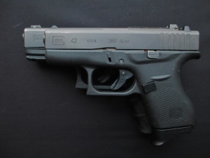 They aren't exactly even, but this view shows the length of the G42 extension compared to a magazine-less G23