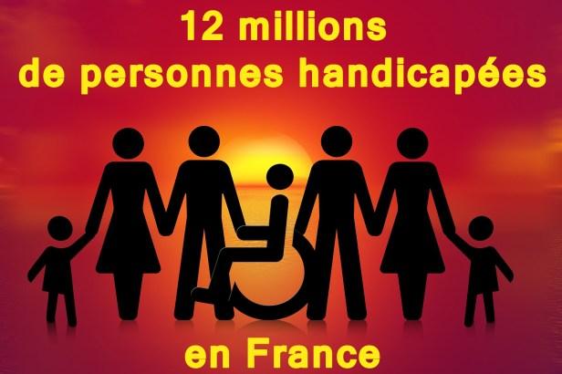 illustration représentant symboliquement des hommes, femmes, enfants dont une personne handicapée accompagnée du texte : 12 millions de personnes handicapées en France