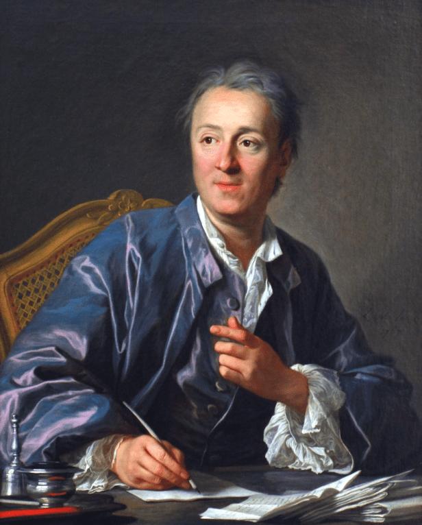 Tableau représentant Denis Diderot dans son cabinet de travail, assis, en train d'écrire.. Il porte une robe de chambre bleue.