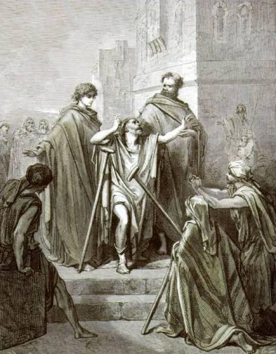 Gravure qui représente la guérison d'un paralytique par Jésus Christ